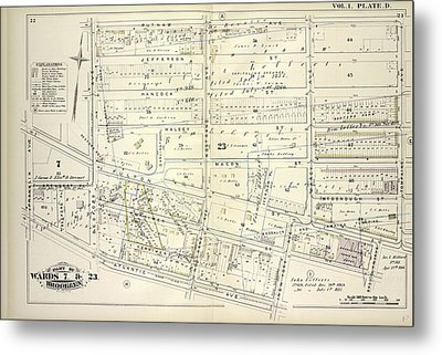 Vol. 1. Plate, D. Map Bounded By Putnam Ave., Tompkins Metal Print