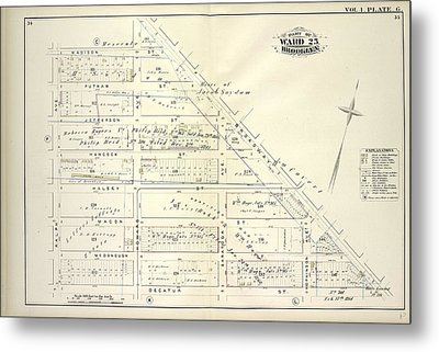 Vol. 1. Plate, G. Map Bounded By Madison St., Broadway Metal Print