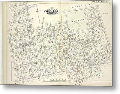 Vol. 5. Plate, D. Map Bound By Sands St., U.s. Navy Yard Metal Print