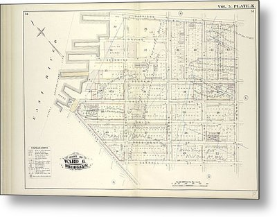 Vol. 5. Plate, K. Map Bound By Harrison St., Henry St Metal Print by Litz Collection