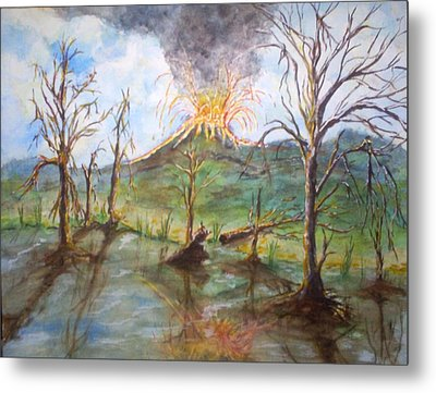 Metal Print featuring the painting Volcano by Douglas Beatenhead