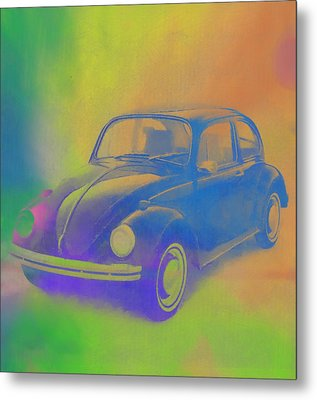 Volkswagen Beetle Pop Art Metal Print by Dan Sproul