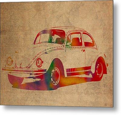 Volkswagen Beetle Vintage Watercolor Portrait On Worn Distressed Canvas Metal Print by Design Turnpike