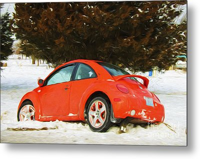 Volkswagen Snow Day Metal Print by Andee Design