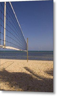Vollyball Net On The Beach Metal Print by Bob Pardue