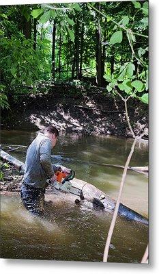 Volunteer Clearing Log Jam Metal Print by Jim West