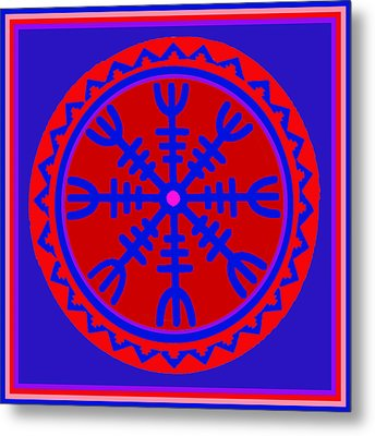 Metal Print featuring the digital art Voodoo Helm Of Awe by Vagabond Folk Art - Virginia Vivier