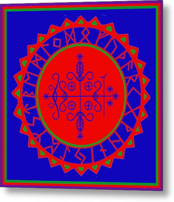 Metal Print featuring the digital art Voodoo Veve  As Above So Below by Vagabond Folk Art - Virginia Vivier