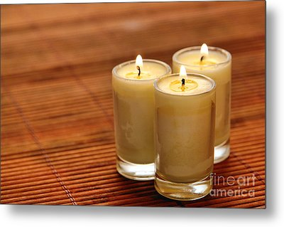 Votive Candle Burning Metal Print by Olivier Le Queinec