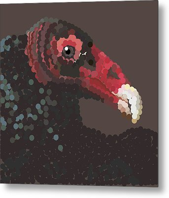Vulture Pixel Pointillized Metal Print by R  Allen Swezey