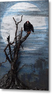 Vulture With Blue Moon Metal Print