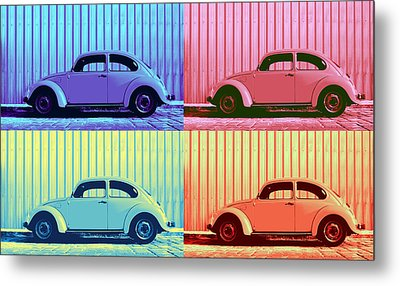 Vw Beetle Pop Art Quad Metal Print by Laura Fasulo