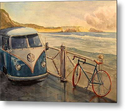 Vw Westfalia Surfer Metal Print by Juan  Bosco