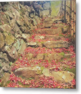 Wabi-sabi Rubble Masonry Bamboo Fence Fallen Leaves Metal Print by Beverly Claire Kaiya
