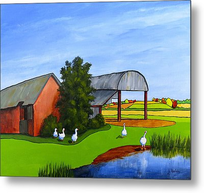 Waddle Pond Metal Print by Jo Appleby