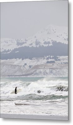Wading Into Winter Surf Metal Print by Tim Grams