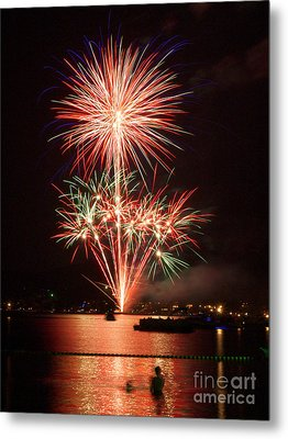 Wading View Of Fireworks Metal Print by Mark Miller