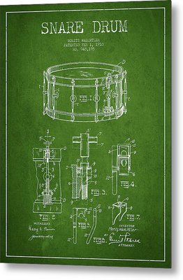 Waechtler Snare Drum Patent Drawing From 1910 - Green Metal Print by Aged Pixel