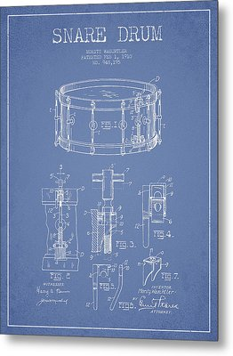 Waechtler Snare Drum Patent Drawing From 1910 - Light Blue Metal Print by Aged Pixel