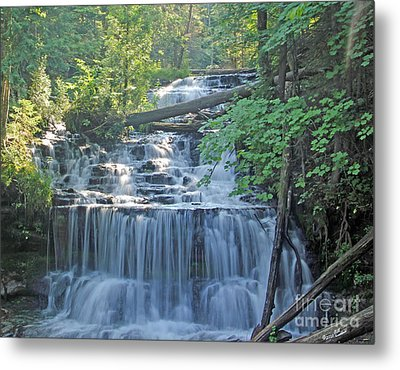 Wagner Falls  Soft Water Effect Metal Print by Bill Woodstock