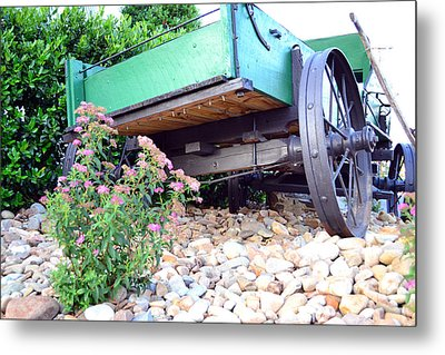 Wagon And Blooms Metal Print by Larry Bishop