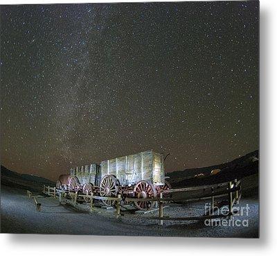 Wagon Train Under Night Sky Metal Print by Juli Scalzi
