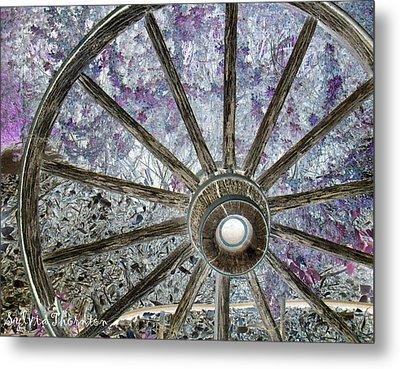 Metal Print featuring the photograph Wagon Wheel Study 1 by Sylvia Thornton