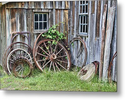 Wagon Wheels In Color Metal Print by Crystal Nederman