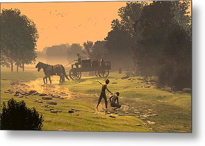 Wagons Barrels And Burlap Metal Print by Dieter Carlton