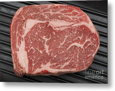 Wagyu Beef Steak In A Pan From Above Metal Print