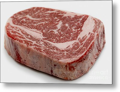 Wagyu Ribeye Steak Raw Metal Print by Paul Cowan