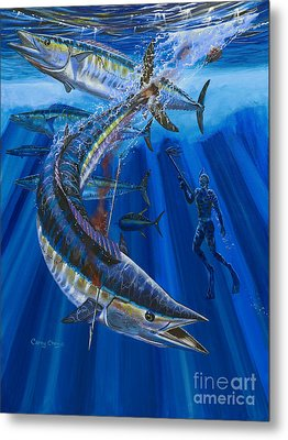 Wahoo Spear Metal Print by Carey Chen