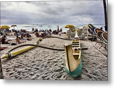 Waikiki Beach Hawaii Metal Print by Douglas Barnard