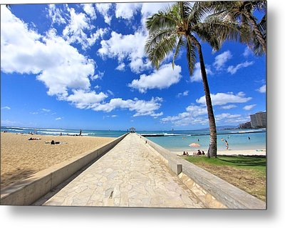 Waikiki Wall Metal Print by DJ Florek