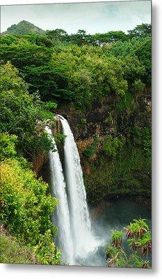 Metal Print featuring the photograph Wailua Falls Kauai by Photography  By Sai