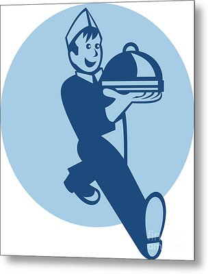 Waiter Cook Chef Baker Serving Food Metal Print by Aloysius Patrimonio