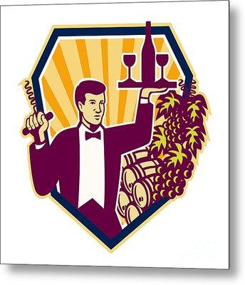 Waiter Serve Wine Glass Bottle Shield Retro Metal Print by Aloysius Patrimonio