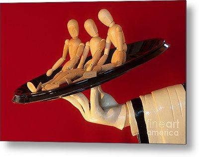 Waiter Serving 3 Dummies Metal Print by Bob Christopher