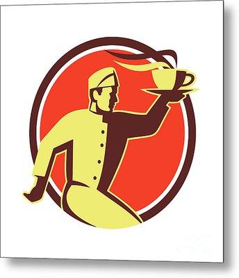 Waiter Serving Coffee Cup Retro Metal Print by Aloysius Patrimonio
