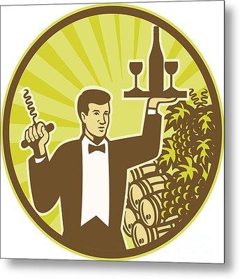 Waiter Serving Wine Grapes Barrel Retro Metal Print by Aloysius Patrimonio
