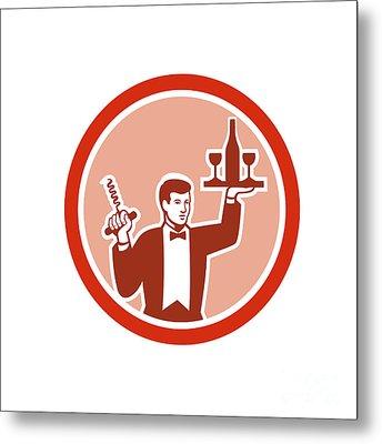 Waiter Serving Wine Holding Corkscrew Retro Metal Print by Aloysius Patrimonio