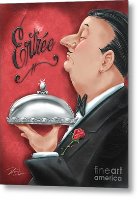Waiter With Entree  Metal Print by Shari Warren