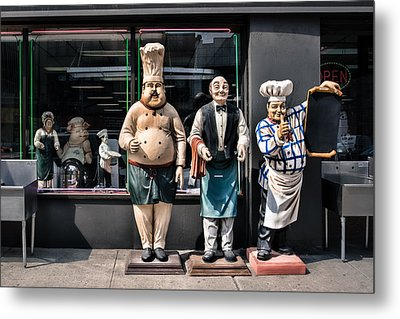 Waiters And Chefs - Food Service Industry Statues Metal Print by Gary Heller