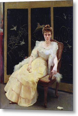 Waiting, 1901 Oil On Canvas Metal Print by Ernst Philippe Zacharie