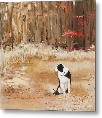 Waiting At Woods Edge Metal Print by Carla Dabney