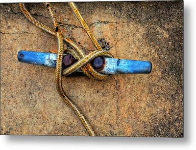 Waiting - Boat Tie Cleat By Sharon Cummings Metal Print by Sharon Cummings