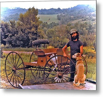Waiting For A Lift On The Old Buckboard Metal Print by Patricia Keller