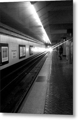 Waiting For Bart -black And White Metal Print