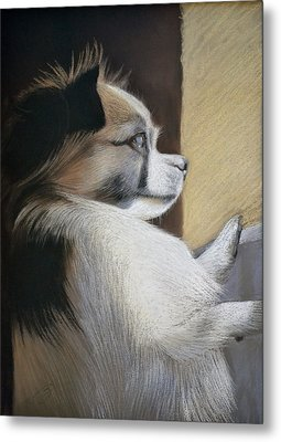 Metal Print featuring the pastel Waiting For Mommy Pastel by Ben Kotyuk