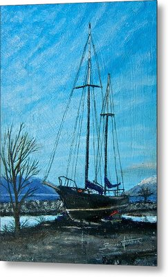 Metal Print featuring the painting Waiting For Springtime. by Bonnie Heather